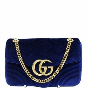 GUCCI GG Marmont Velvet Medium Shoulder Bag Blue